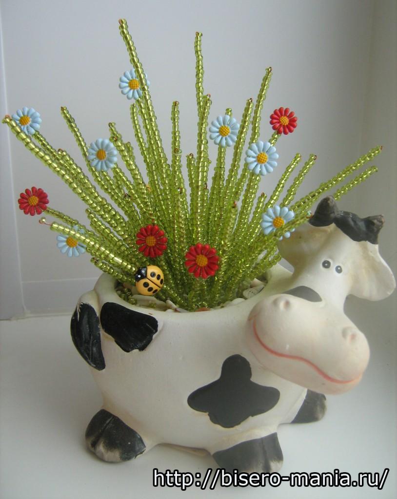 Трава из бисера мастер класс с пошаговым фото