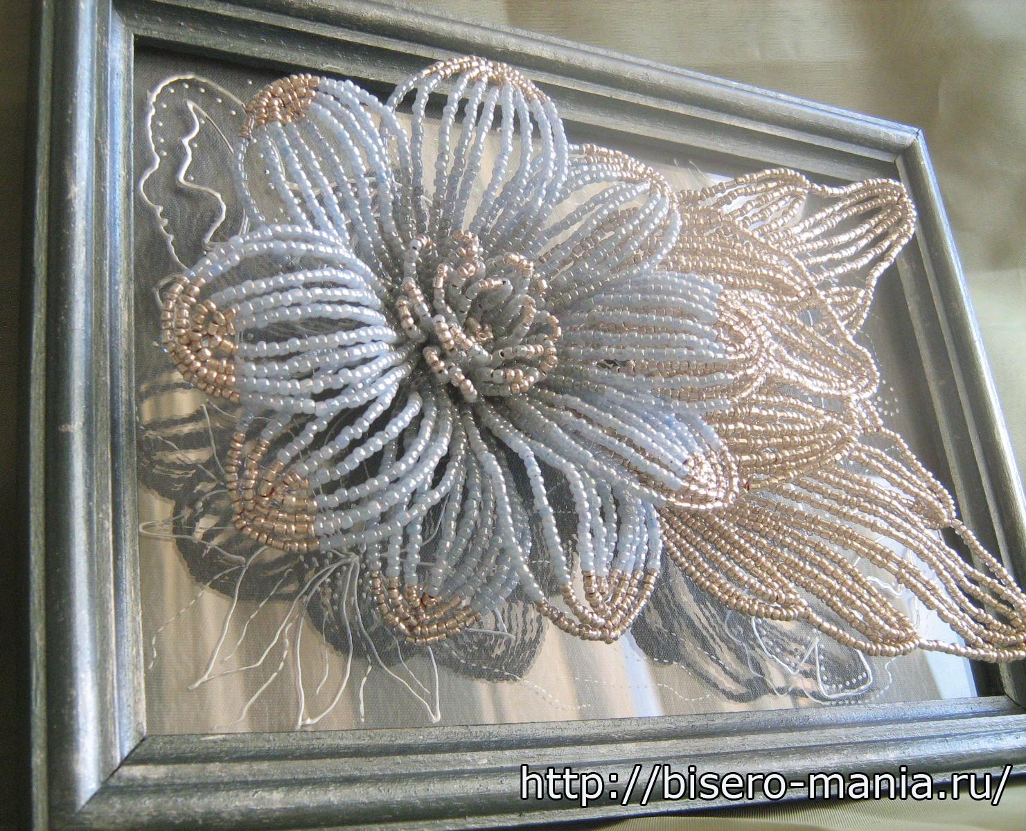 цветочное панно на стекле
