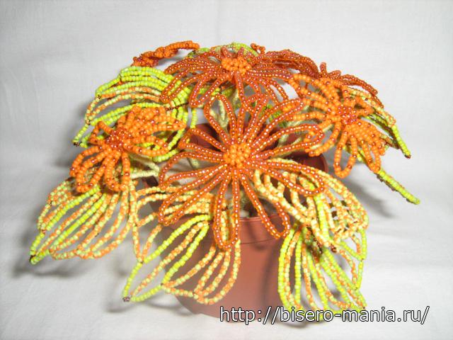 Цветы из бисера японские