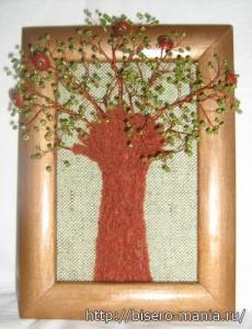 деревья из бисера встроенные в панно