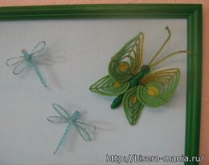 панно из бисера с бабочками